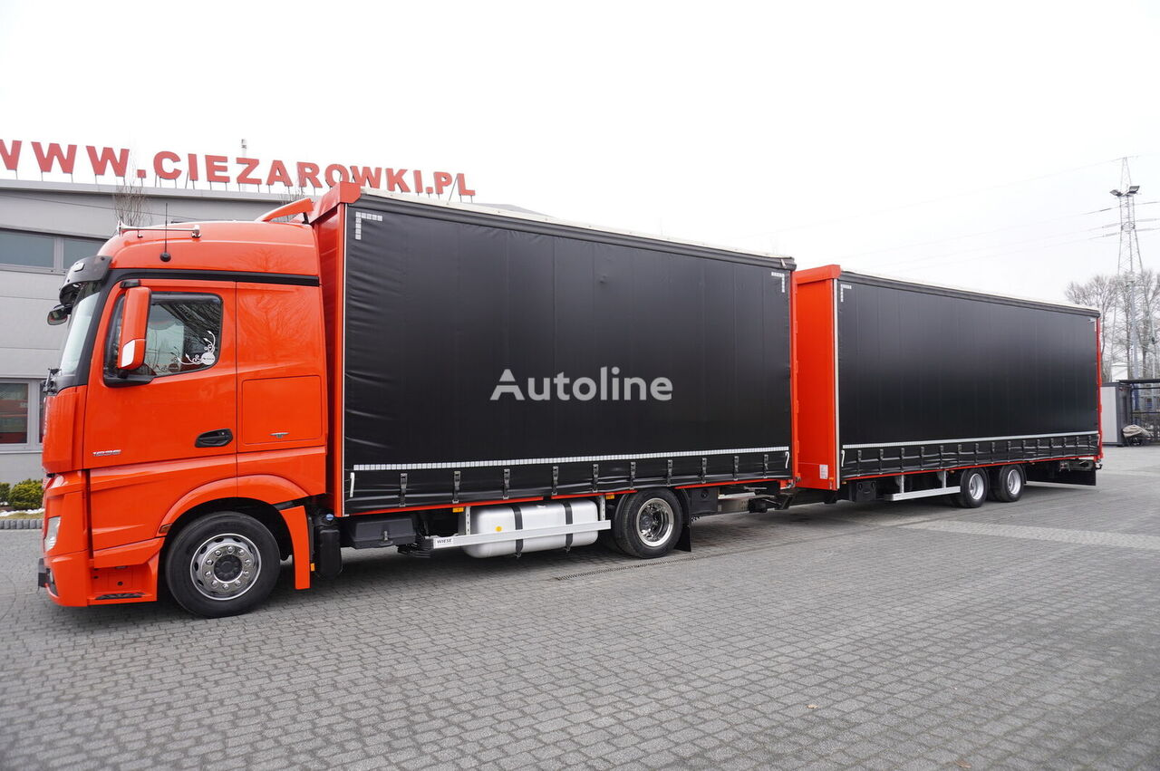 грузовик штора MERCEDES-BENZ Actros 1836 , E6 , 4x2 , MEGA , 120m3 JUMBO , 38 EPAL , retarder + прицеп штора